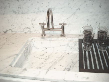 Polioform custom marble bar sink with grid