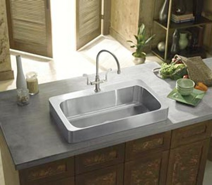 Vintage Kohler Verity stainless steel drop in sink Kohler via Atticmag