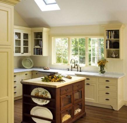 antique island kitchen yellow kitchen with antique wood island - smithriverkitchens via Atticmag