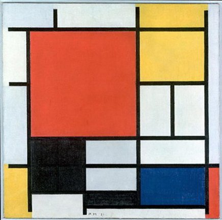 color block kitchen - Mondrian painting which has similar colors as a kitchen - holtzman trust via Atticmag