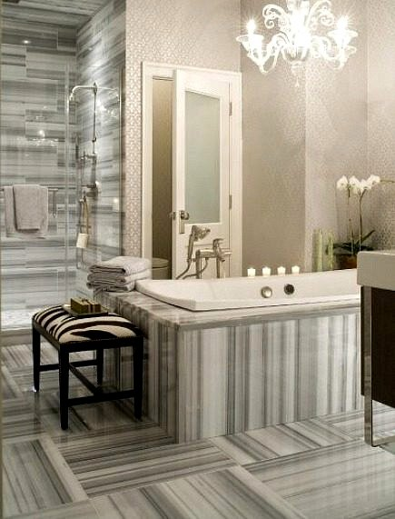 gray and white striped marble bathroom