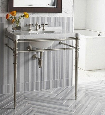 gray and white striped marble bath with chevron floor