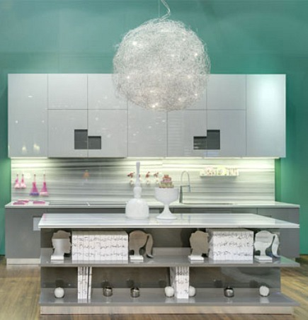 equator marmara marble island counter and kitchen backsplash from Milans EuroCucina 2010