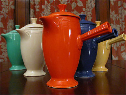 vintage fiestaware coffee pots - Happy Heidi via Atticmag