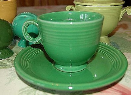 vintage and valuable green Fiestaware coffee cup and saucer - Happy Heidi via Atticmag