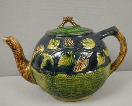 Majolica cobalt, blackberry and green basket weave large teapot.