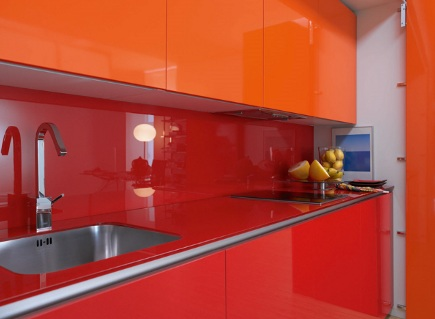 kitchen in a closet - red and orange Logos minimalist kitchen - Logos via Atticmag