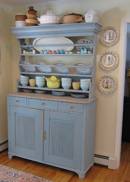 antique blue Swedish Gustavian kitchen hutch