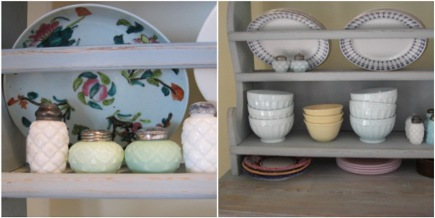 kitchen hutch - detail of plate racks and top of antique Swedish hutch - Atticmag