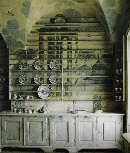 Hutch in the porcelain kitchen at Thureholm, Sweden