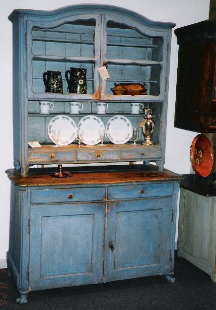 kitchen hutch - blue Rococo kitchen hutch - Cupboards and Roses via Atticmag - Antique Swedish Gustavian Kitchen Hutch