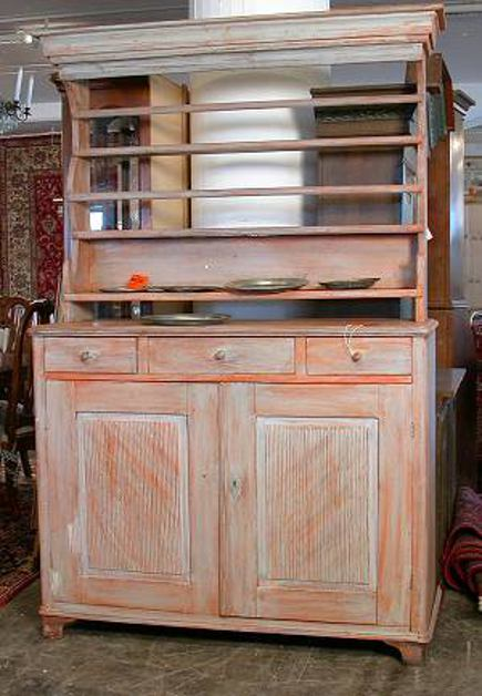 antique Swedish dish hutch before repainting