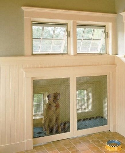 custom built-in dog bed sleeping area under roof eaves