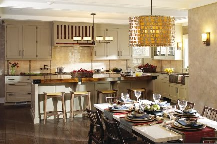High Quality Kitchen Seating   Beige Kitchen With Wood Counter Stools And Dining Table   Kitchenlabchicago Via Atticmag
