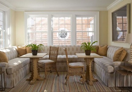 built in upholstered banquette in an East Hampton home