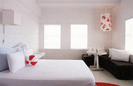 bedroom redos townhouse hotel miami all white hotel room with red accents and corner - White Hotel Ideas