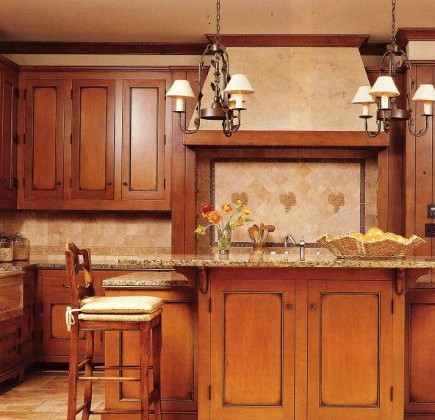 custom glazed maple cabinets with granite topped island