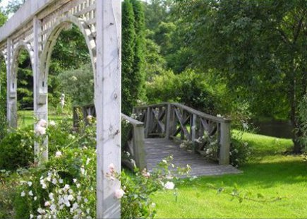 stone mansion - trellis and bridge in the Maus Park garden- via Atticmag