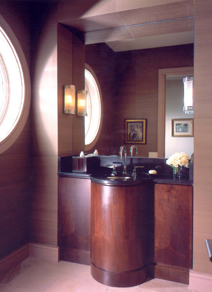 powder room with curved vanity by Barbara Westbrook