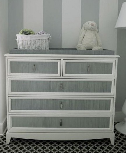 Gustavian gray and white striped dresser