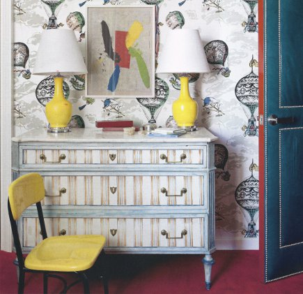 Neoclassical chest with striped drawers and marble top