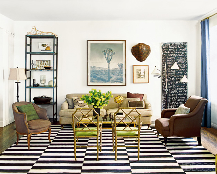 black and white dhurrie - black and white rug in a Chicago living room - Nate Berkus via Atticmag