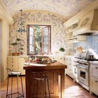 Blue and White Mural Kitchen