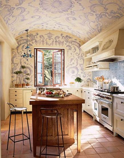 napa valley guest house kitchen with blue mural ceiling by Erin Martin