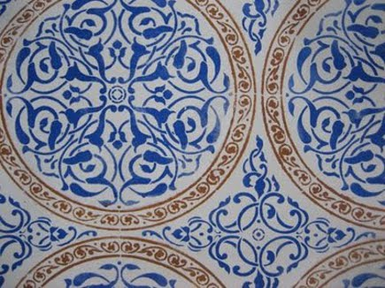 blue and white abstract floral Moroccan tiles