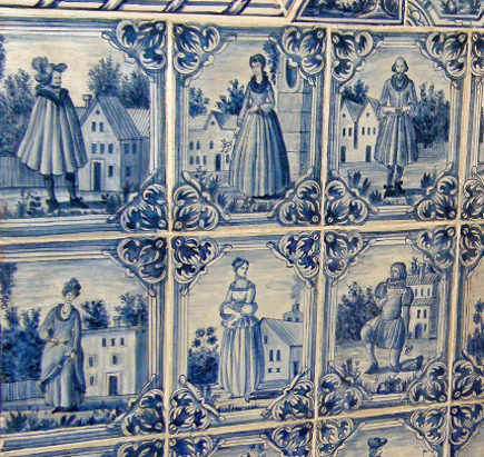 detail of Delft figural tiles from the Catherine Palace outside St. Petersberg, Russia