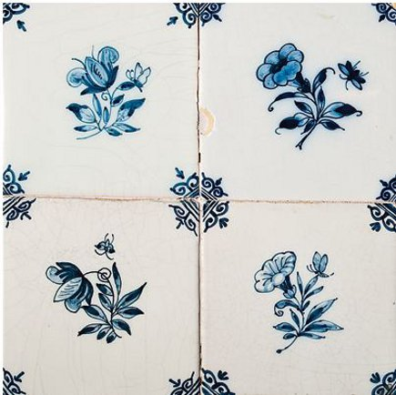 Delft tile - Country Floors Royal Makkum blue and white small flower tiles - via Atticmag