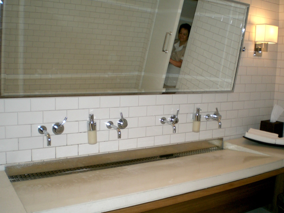 Big Bathroom Sinks Oversize Solid Surface Trough Sink With Linear Drain And Four Faucets