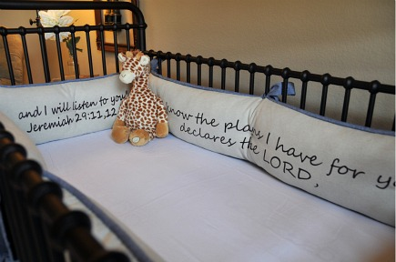 safari theme nursery custom crib bumpers with vinyl lettering Bible verse
