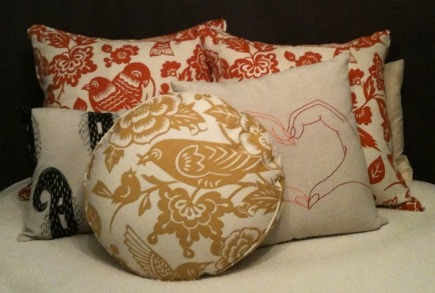 custom toss pillows with Aviary pattern by Thomas Paul