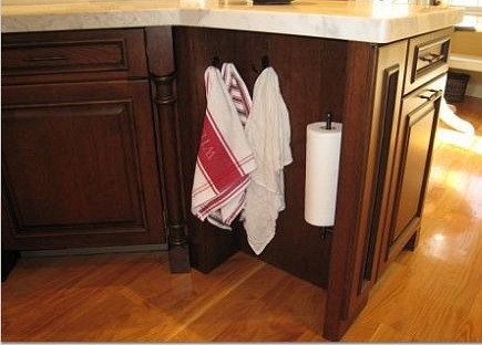 built-in kitchen towel and paper towel holder from blog Hoosier Roots