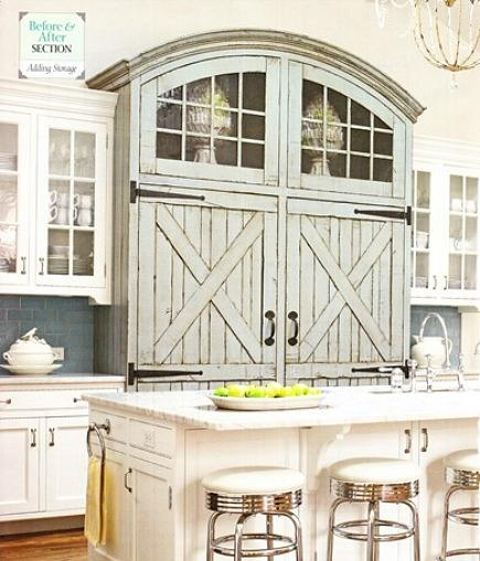 integrated full size refrigerator and freezer built to look like rustic armoire