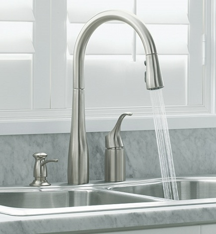 why kitchen faucets splash - Kohler Simplice faucet with sprayer on - Kohler via Atticmag