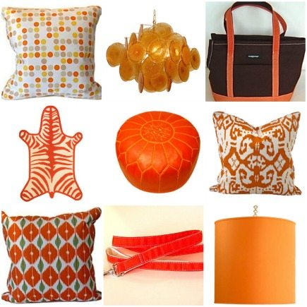 orange home decorating accessories pillows and rugs