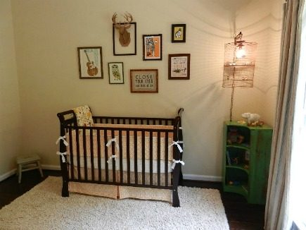 eclectic gender neutral nursery vintage corner bookcase and copper bird cage chandelier