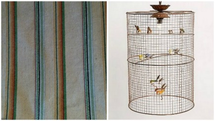 cabana tablecloth Anthropologie and Creative Co op birdcage chandelier