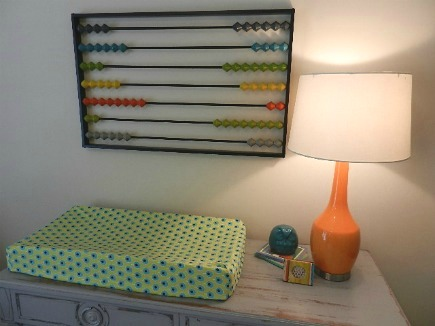 eclectic gender neutral nursery colorful abacus wall art from CB2