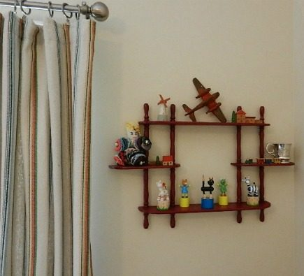 eclectic gender neutral nursery vintage red painted decorative wall shelf