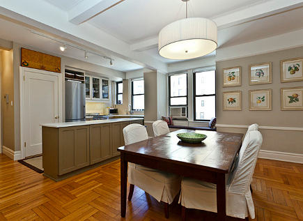 Dining room and kitchen of NY apartment