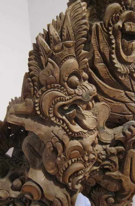 close up of teak Balinese sculpture