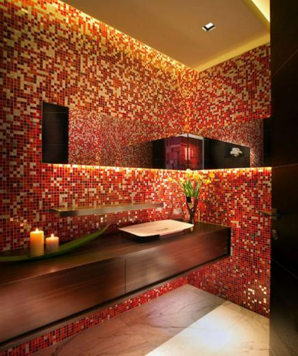 red glass mosaic powder room by Pepe Calderin