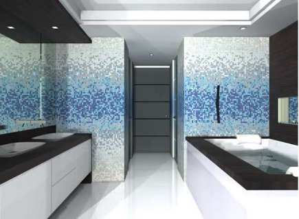 blue and white gradient mosaic tile in a master bath by Pepe Calderin