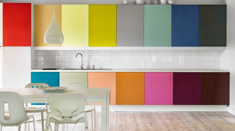 multi-color kitchen cabinets from Elle Interiors by Magnus Anesund via Atticmag