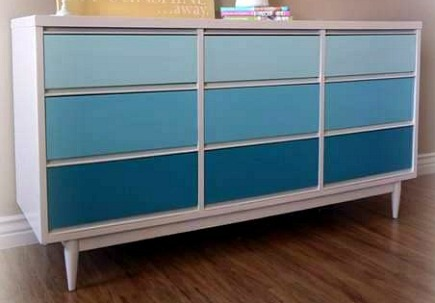 painted dressers - blue gradient color painted dresser from Red Hen Home via Atticmag