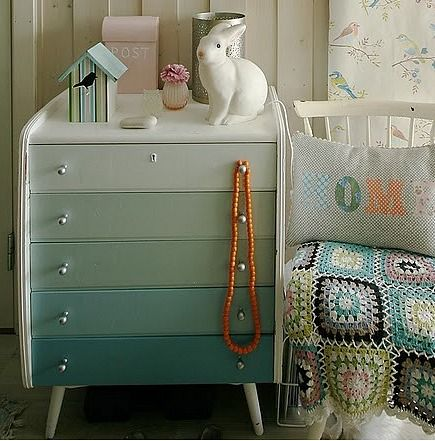 painted dressers - gradient color painted dresser from Norske Interiors via Atticmag