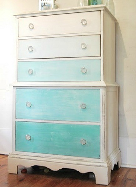 whitewashed gradient painted dresser from The Feminist Housewife blog